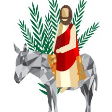 Palm Sunday - The Triumphal Entry of Jesus into Jerusalem on a donkey with palm leaves. Modern abstract artistic digital illustration
